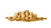 Many Shiny Gold Coins On White...