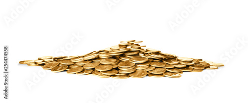 Fotografie, Obraz  Pile of shiny coins on white background