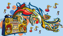Funky Colorful Boom Box, Notes...