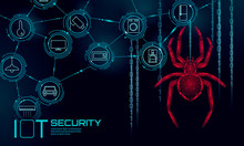 IOT Cybersecurity Spider Concept. Personal Data Safety Internet Of Things Smart Home Cyber Attack. Hacker Attack Danger Firewall Innovation System Vector Illustration