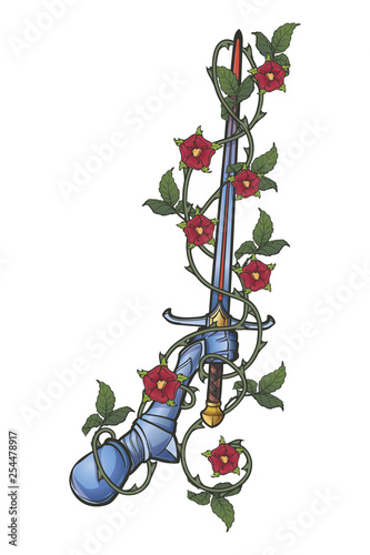 Hand Holding A Sword Decorated With Rose Garland Isolated On