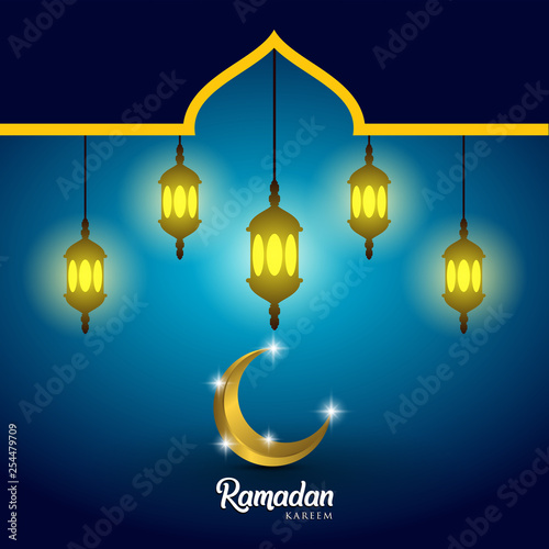 Ramadan kareem background, illustration with arabic lanterns, mosque