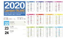 2020 Italian Calendar With Italian Holidays, Zodiac , Saints, Moon Phases, Astronomical Events, Sunset And Sunrise