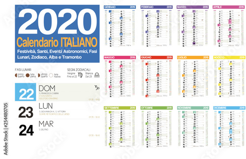 Calendario Lunar 2020.2020 Italian Calendar With Italian Holidays Zodiac Saints
