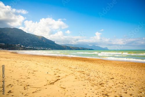 Beautiful seaview from beach of Alcamo Marina in Sicily, Italy Wallpaper Mural