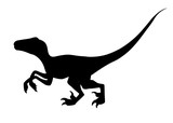 Fototapeta Dino - Black silhouette. Brown raptor. Cute dinosaur, cartoon design. Flat vector illustration isolated on white background. Animal of jurassic world. Small carnivore dinosaur