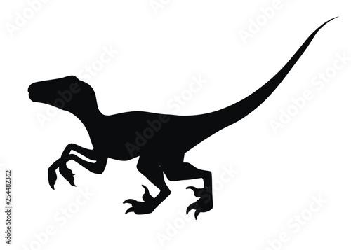 Black silhouette. Brown raptor. Cute dinosaur, cartoon design. Flat vector illustration isolated on white background. Animal of jurassic world. Small carnivore dinosaur