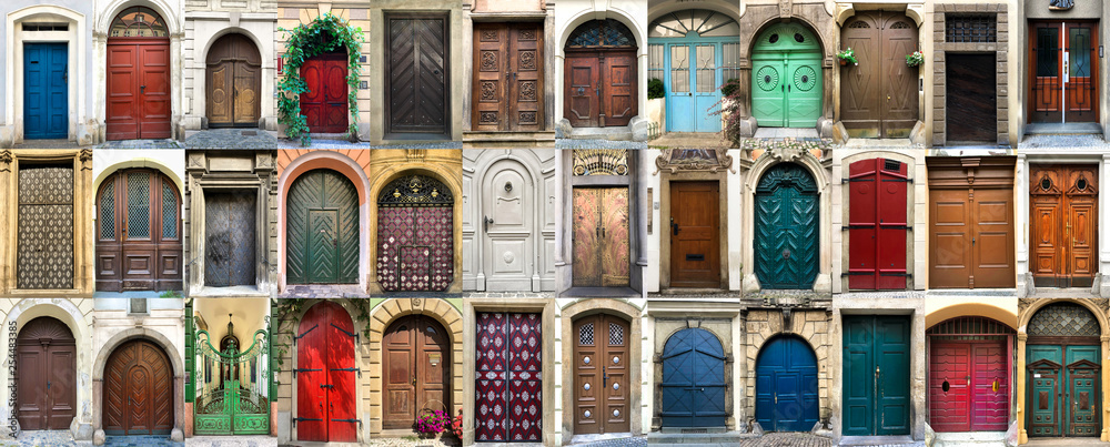 Fototapety, obrazy: Collage of 36 colourful front doors