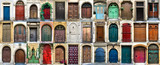 Collage of 36 colourful front doors