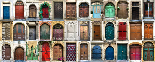 Fotografia  Collage of 36 colourful front doors