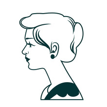Beautiful Classic Female Profile. Woman With Beautiful Retro Hairstyle, Governess, Mother Or Teacher