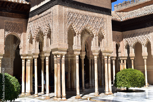 Foto  Carved columns in an interior courtyard named Court of the Lions inside La Alham