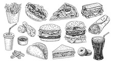 Fast Food Set Hand Drawn Vector Illustration. Hamburger, Cheeseburger, Sandwich, Pizza, Chicken, Taco, French Fries, Hot Dog, Doughnuts, Burrito And Cola Engraved Style, Sketch Isolated On White.