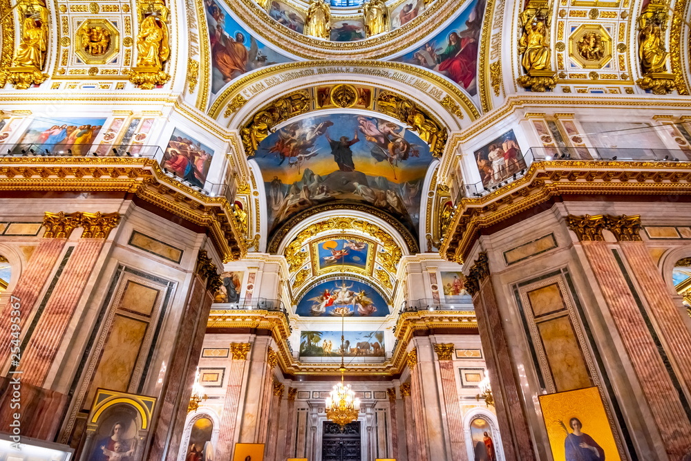 Fototapety, obrazy: St. Isaac's Cathedral ceiling and interiors, Saint Petersburg, Russia