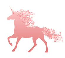 Running Unicorn With Mane And Tail Decorated With Sakura Flowers - Magic Horse With Spring Season Blossom Isolated Vector Silhouette