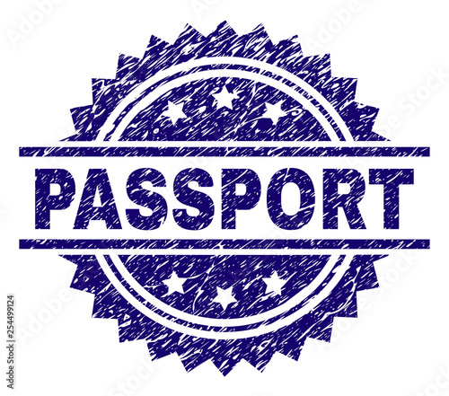 Fotografía  PASSPORT stamp seal watermark with distress style