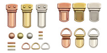 Haberdashery Accessories. Set Metal Locks For Bags.