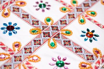 Embroidery on white fabric