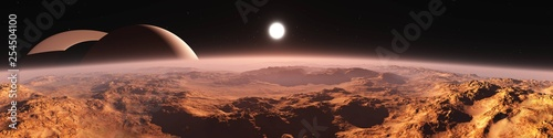 Fotografie, Obraz Titan (satellite of Saturn) at sunset, panorama of the red planet at sunrise, th