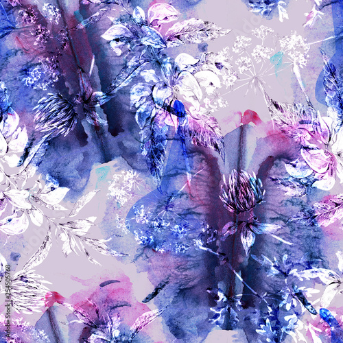 Watercolor abstract seamless pattern with hand painted artistic texture