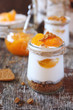 Mini cheesecake with apricots in two cups