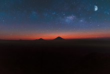 Mountains Under Starry Sky Wit...
