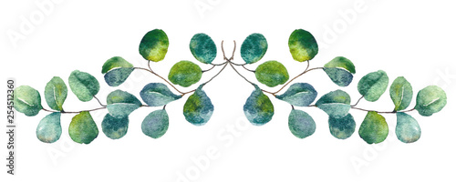 Foto  Green leaves watercolor botanical illustration