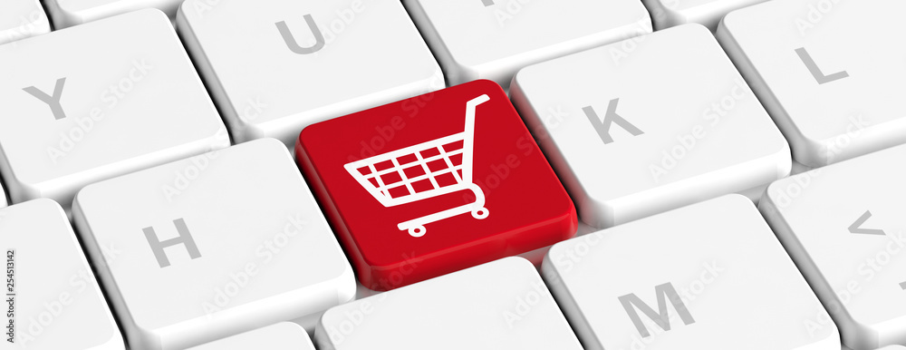 Fototapeta E shopping. Red key button with a shopping cart on a computer keyboard, banner. 3d illustration