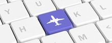Plane Trip, Online Booking. Blue Key Button With A Plane Icon On A Computer Keyboard, Banner. 3d Illustration