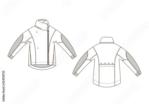 Fotografia Fashion technical sketch of jacket in vector graphic