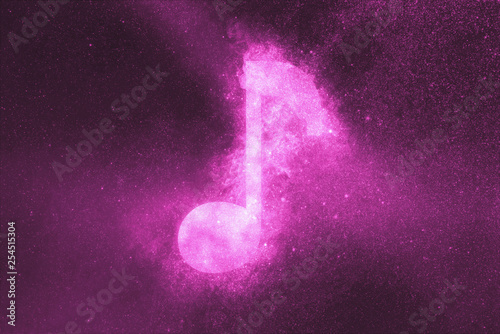Music note sign, Music note symbol. Abstract night sky background - 254515304
