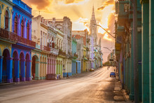 Street Scene With Sunset In Downtown Havana