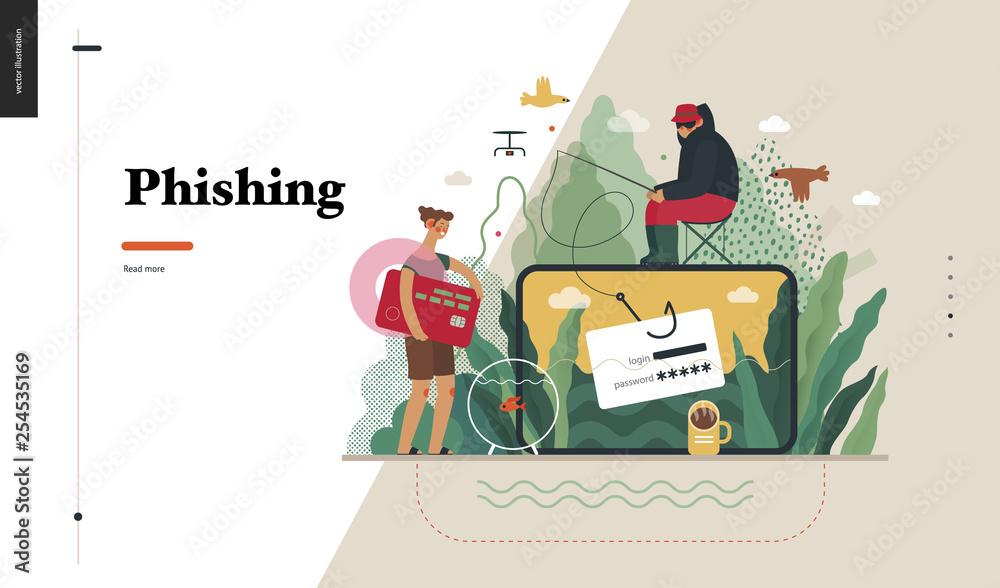 Fototapeta Technology 2 - Phishing - flat vector concept digital illustration of phishing scam metaphor. Hacker fraud protection, password steal, data phishing. Creative landing web page design template