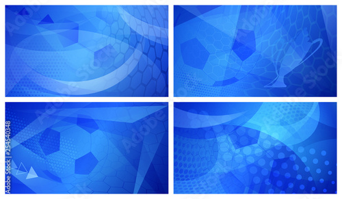 Set of four football or soccer abstract backgrounds with big ball in blue colors