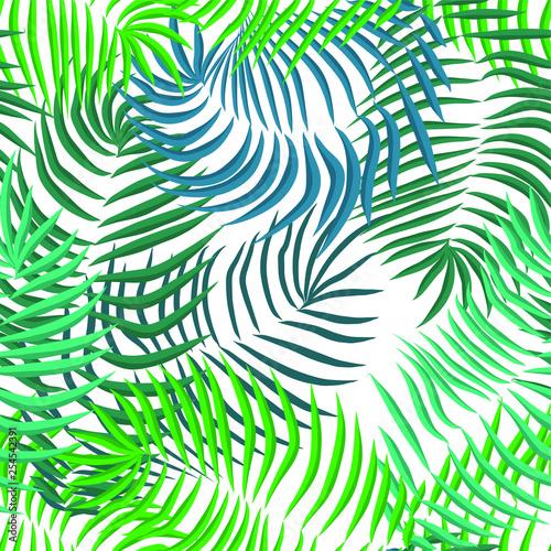 Fotobehang Tropische bladeren Vector seamless summer palm leaves on white background.