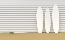 Surfboards And Wooden Fence Illustration