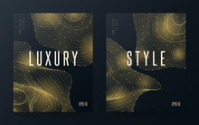 Modern Abstract Dots Lines Shape. Gradient Golden Wave Forms Background Concept Luxury Style. Small Japanese Text (translation: «poster Design Style»). Futuristic Flyer EPS 10 Vector Illustration