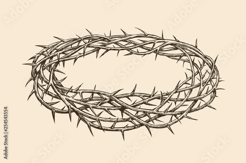 Tela Crown of thorns, sketch. Hand drawn vintage vector illustration