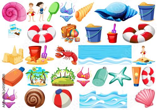 Fotografia  Set of beach objects