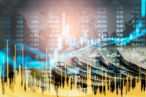 Fotografía  Stock market or forex trading graph and candlestick chart suitable for financial investment concept