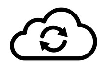 Cloud Sync Or Cloud Refresh With Arrows Line Art Vector Icon For Apps And Websites