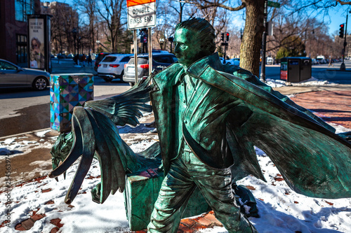 Photo Boston, USA- March 01, 2019: The life-sized statue of Edgar Allan Poe was unveiled in Boston on October 5