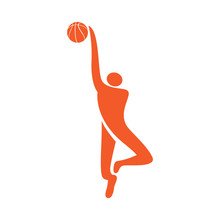 Isolated Basketball Player Icon With A Ball. Vector Illustration Design