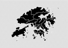 Hong Kong Map - High Detailed Black Map With Counties/regions/states Of Hong Kong. Hong Kong Map Isolated On Transparent Background.