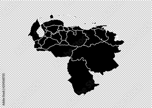 Fotografia, Obraz venezuela map - High detailed Black map with counties/regions/states of venezuela