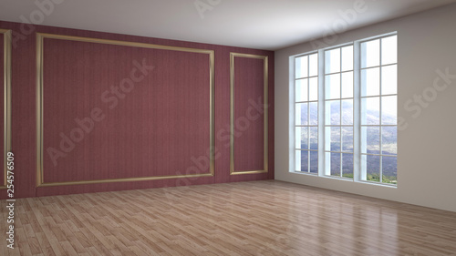 Obraz Empty interior. 3d illustration - fototapety do salonu