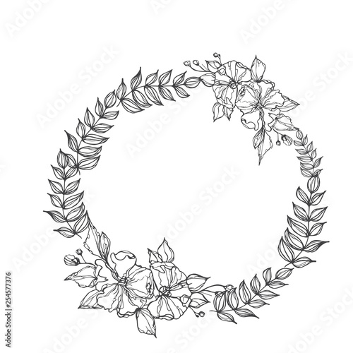 Photo  Vector flowers decorative wreath isolated on white background, round frame hand
