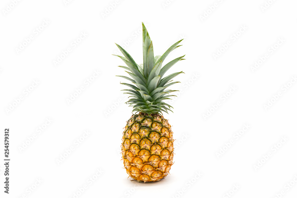 Fototapeta Pineapple with green leaves isolated on white background.