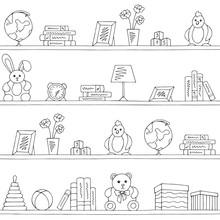 Shelves Graphic Black White Children Room Toy Book Seamless Pattern Background Sketch Illustration Vector