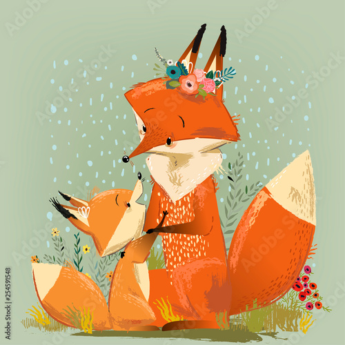 Photo cute mom fox with her kid. Vector illustration